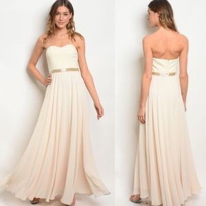 Strapless Cream Flowing Formal Ball Gown Dress